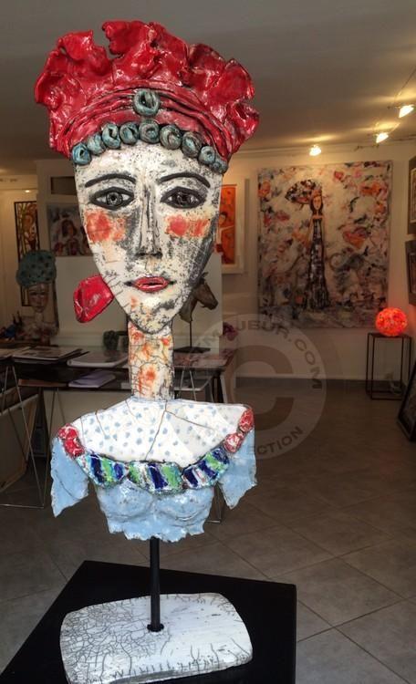 Hilma - Sculpture,  60 cm ©2014 par Mary Larsson -                                                            Art figuratif, Céramique, Femmes, porteait de femmes