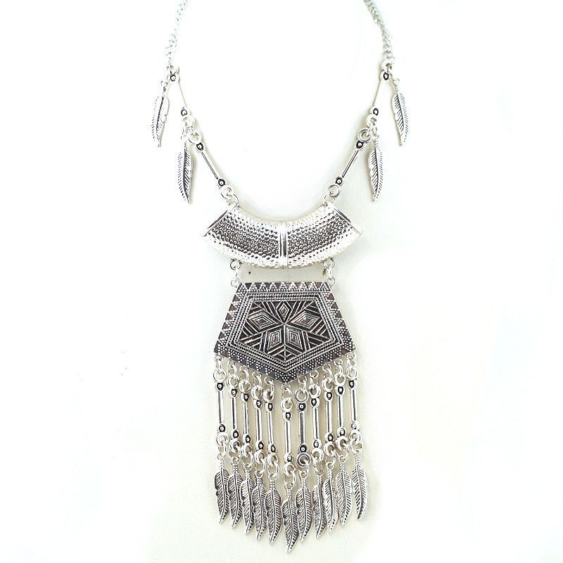 Tribal Texture Fringe Statement Necklace