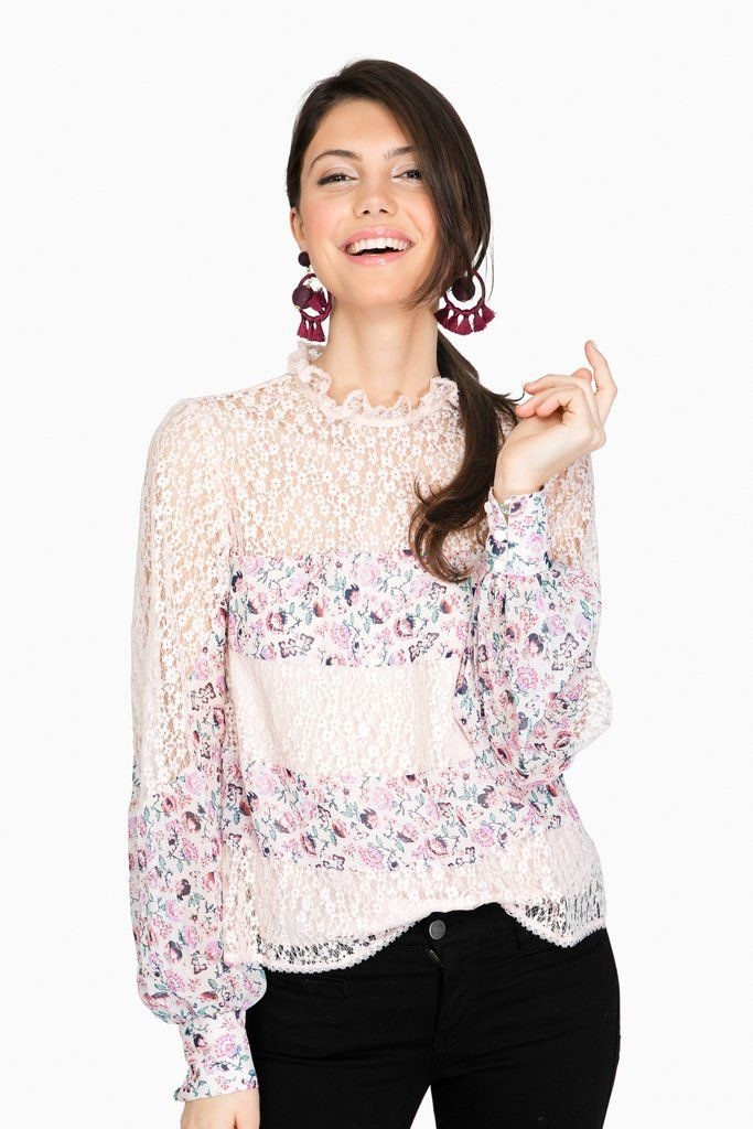 579976a24e09e7 Petal Lace Fiore Blouse So pretty and feminine. Wear now with jeans and  later with white denim!