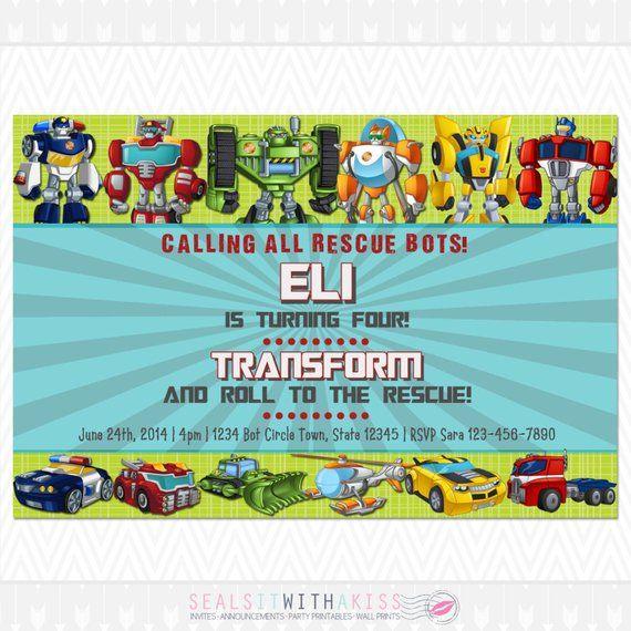 Transformers Rescue Bots Birthday Invitation
