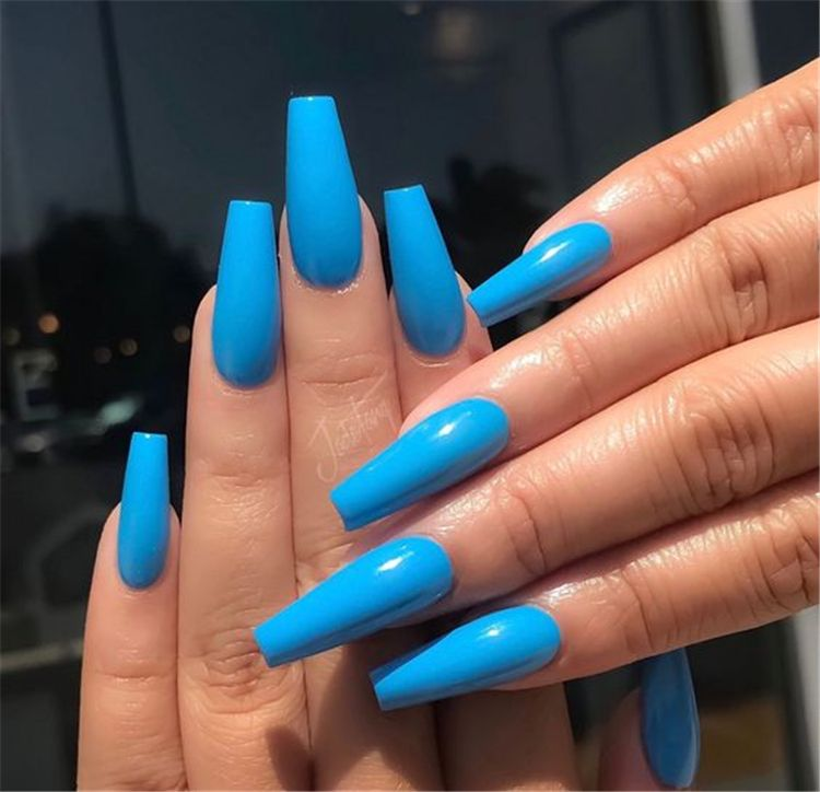 Trendy And Bright Summer Nail Colors You Must Try This Summer Bright Summer Nail Colors Bright Nai Blue Acrylic Nails Summer Acrylic Nails Long Acrylic Nails