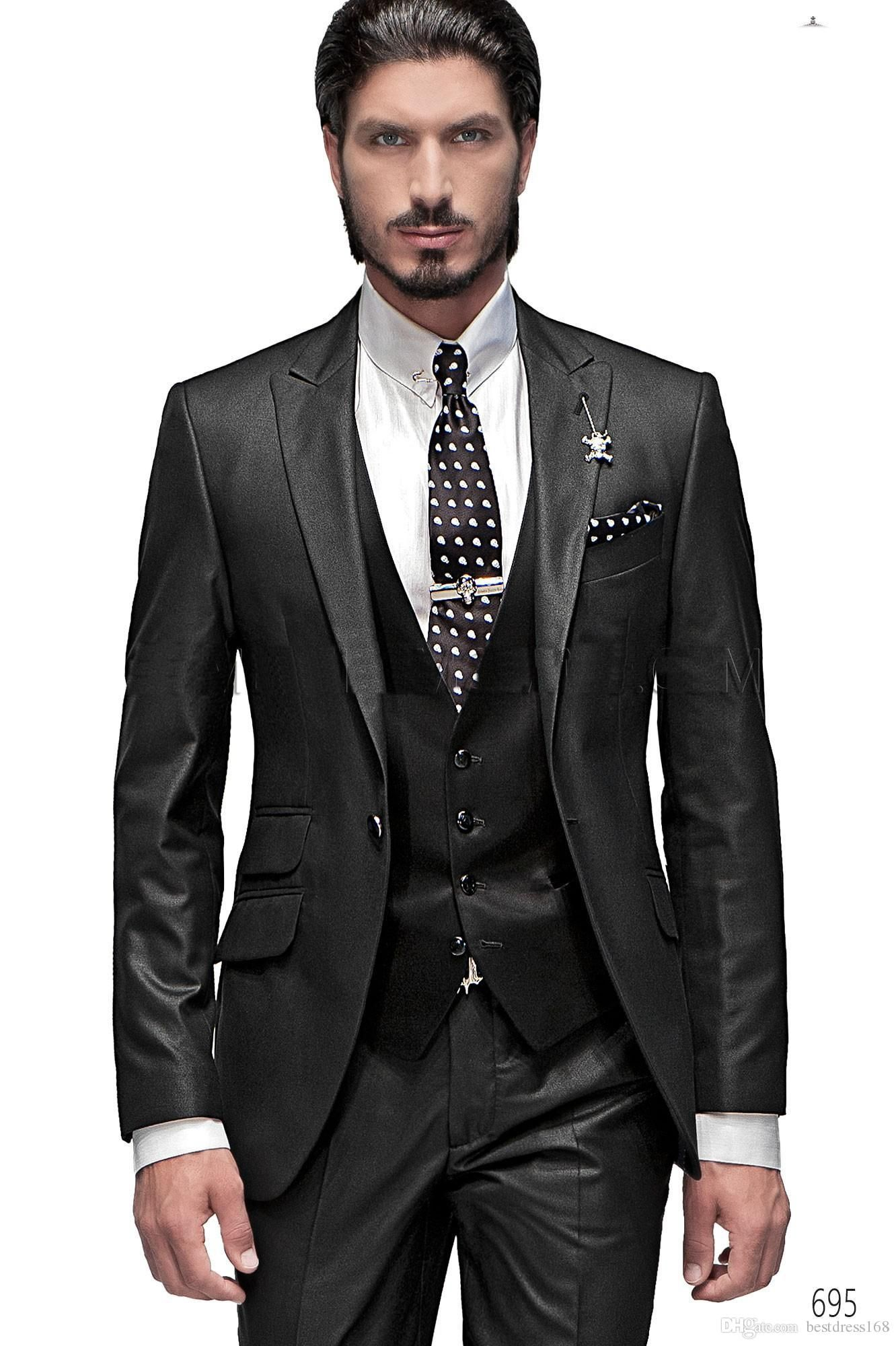 custom made 2016 Charcoal Groom Tuxedos wedding suits for men formal ...