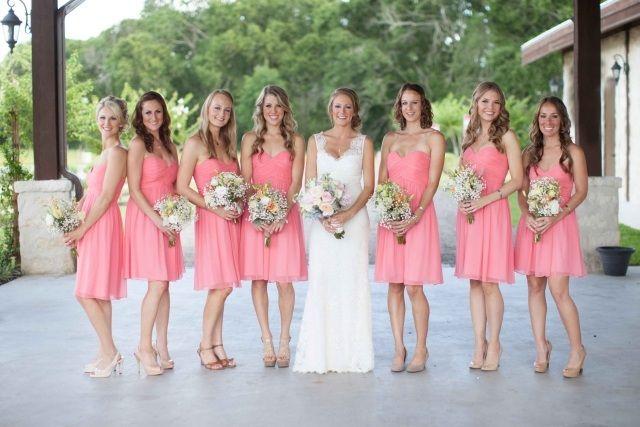 rosa chiffon kleider kurz brautjungfern herz ausschnitt