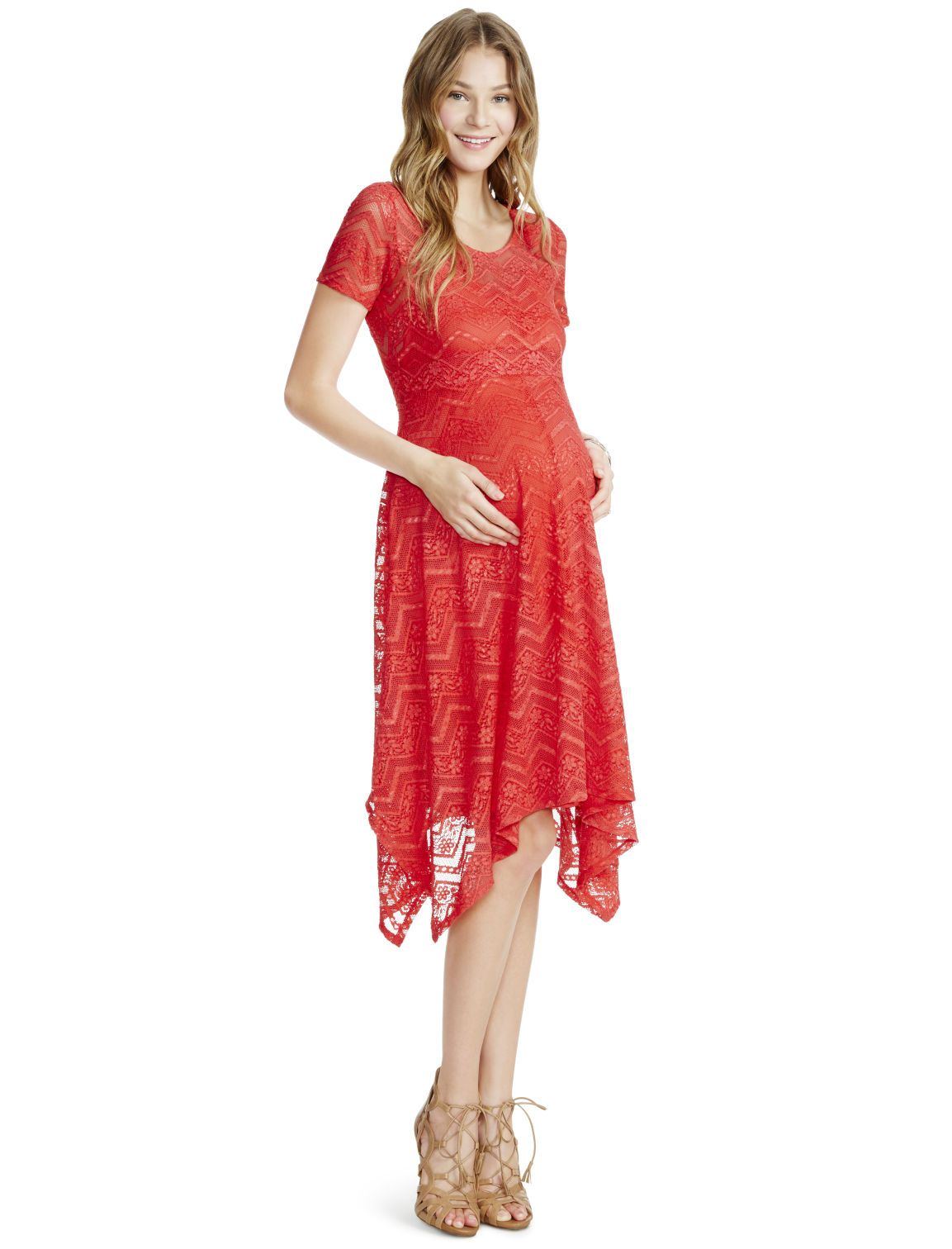 782aa4bf995c0 Motherhood Maternity Jessica Simpson Lace Hanky Hem Maternity Dress ...