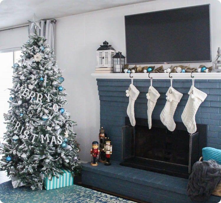 Blue and White Christmas Home Tour Christmas Ideas Christmas