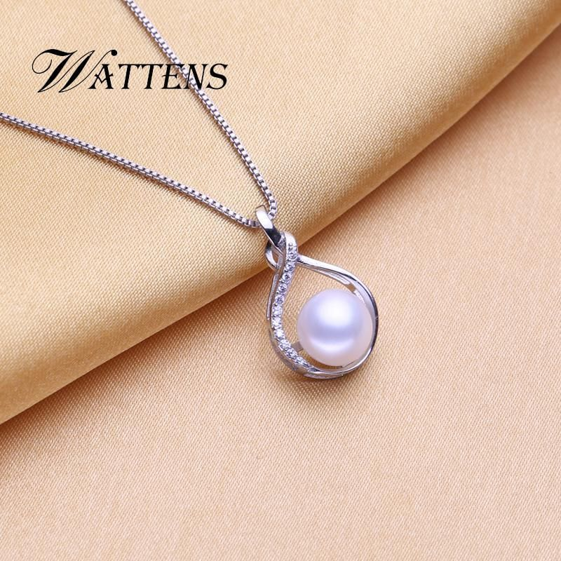 Fashion Jewelry 925 Sterling Silver Pink Freshwater Pearl Leaf Pendant Necklace