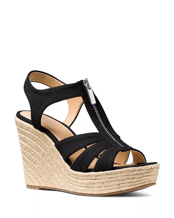 Black wedge sandals, Wedge sandals