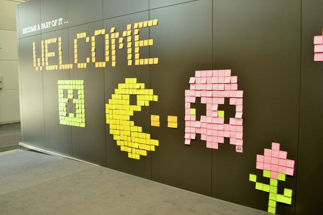 Minecraft & Pac Man Post It Art