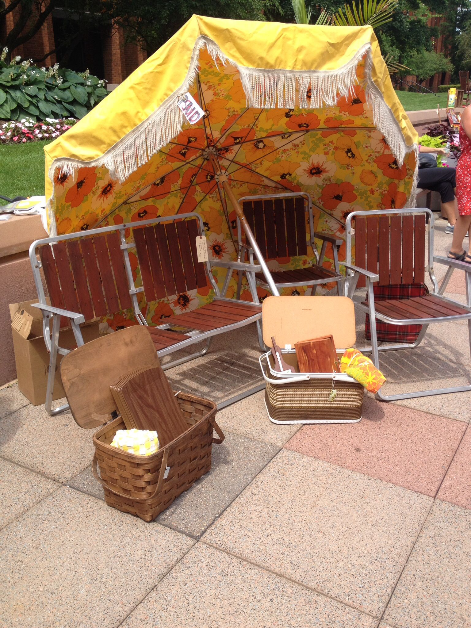 Retro Lawn Chairs U0026 Umbrella With Orange U0026 Yellow Flowers. Vintage Market  Bliss