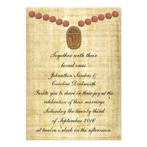 scarab terracotta beads on egyptian papyrus custom invitation - Papyrus Wedding Invitations