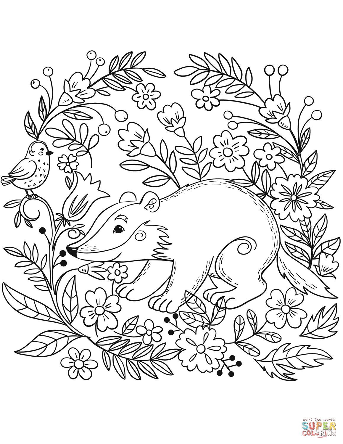 Badger Coloring Page With Forest Animals Coloring Pages Animal Coloring Pages Coloring Pictures Of Animals Coloring Pictures
