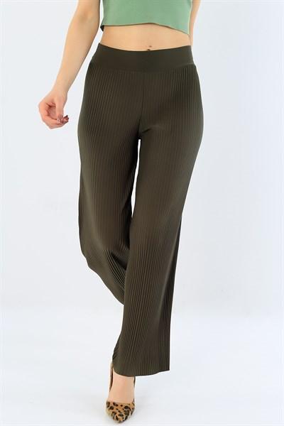 26 95 Tl Piliseli Haki Bayan Viskon Pantolon 29708b Modamizbir 2020 Pantolon Moda Giyim