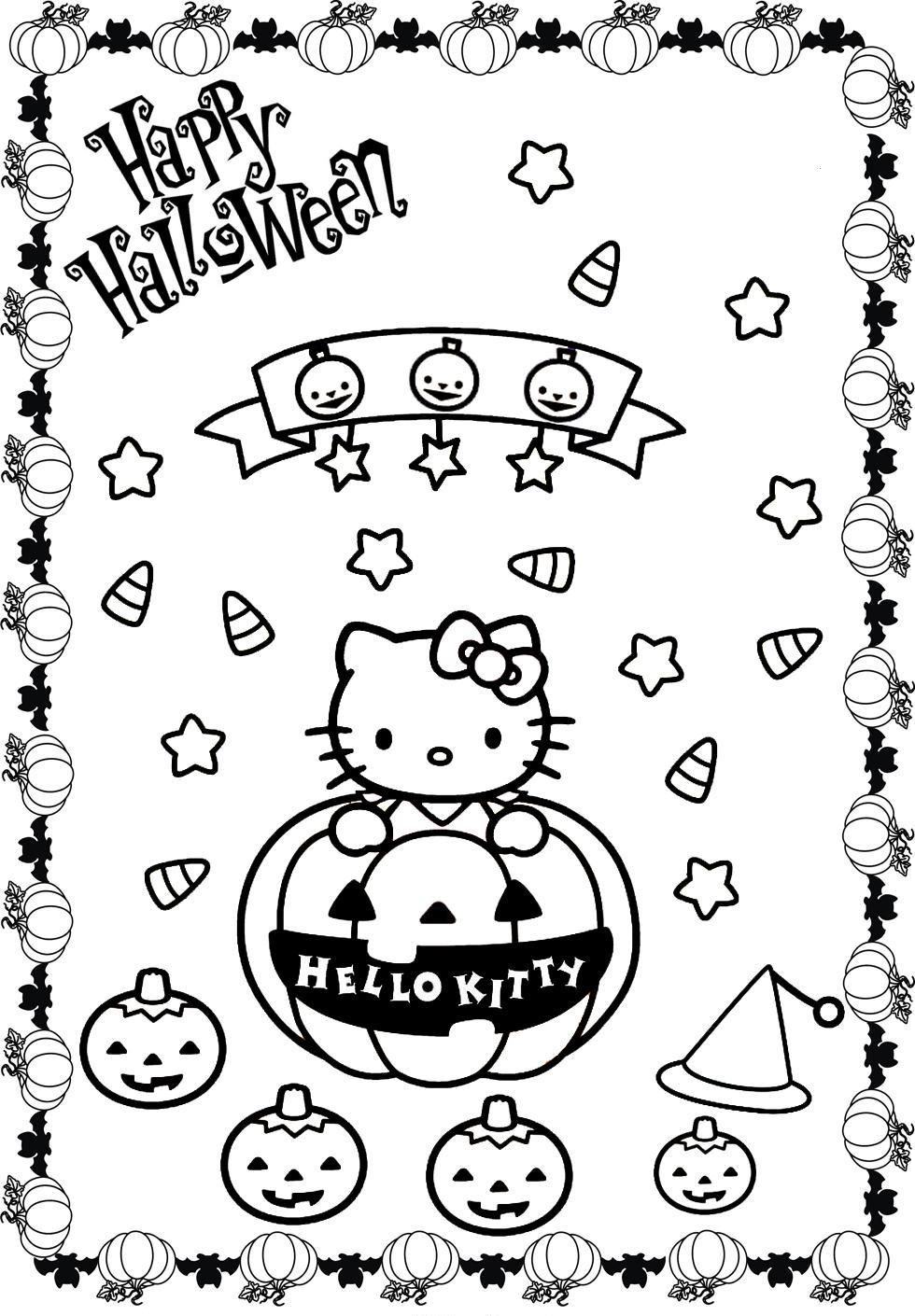 Hello Kitty Halloween Coloring Pages Kitty Coloring