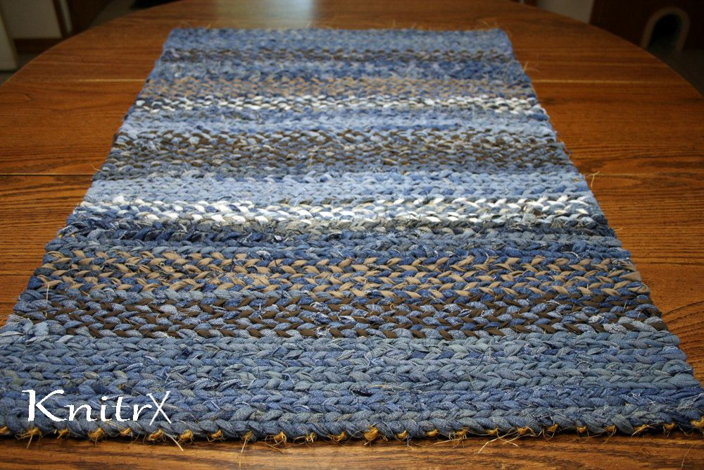 Denim Twine Rag Rug Blue Jean Sisal Woven