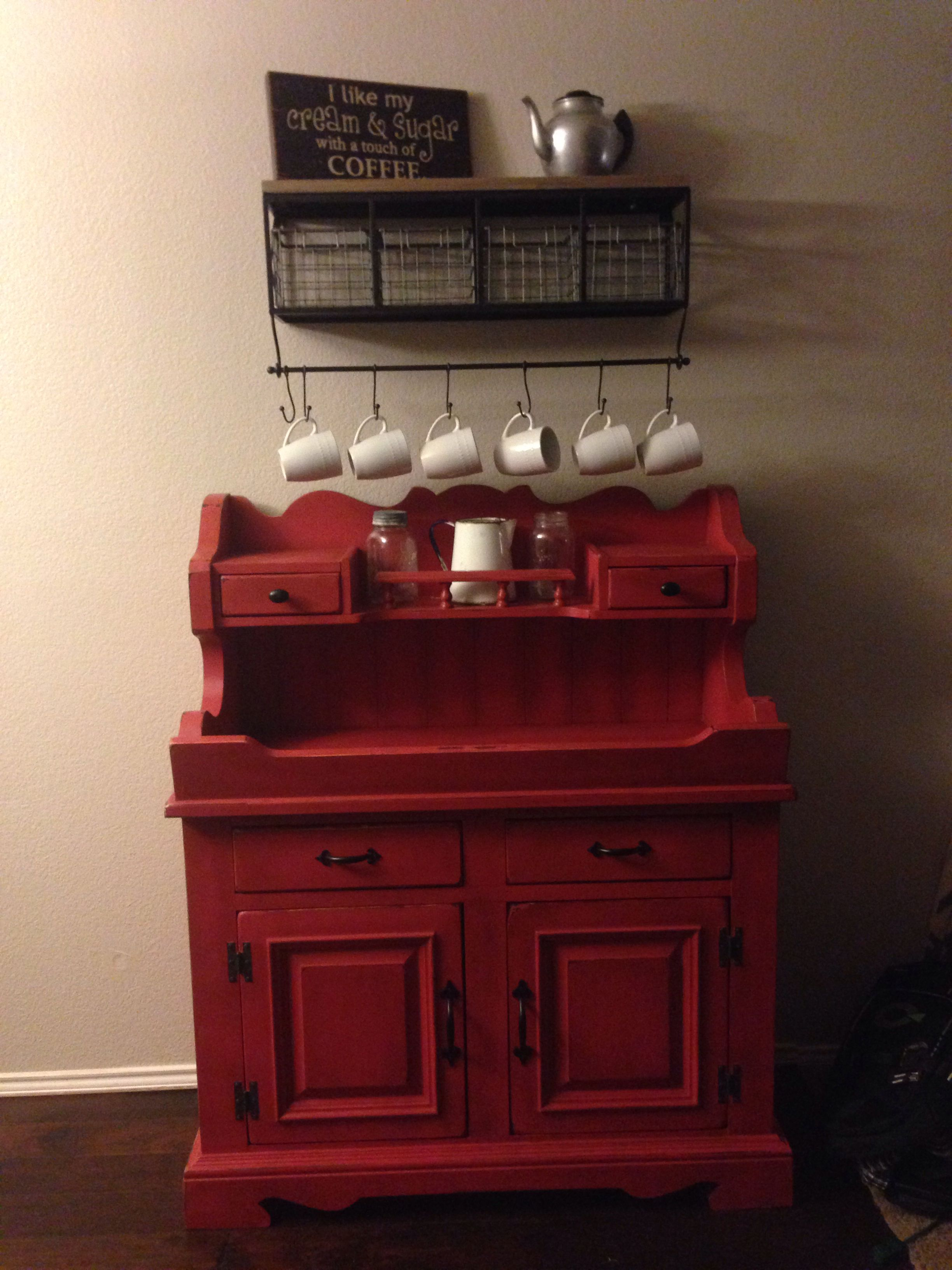 My coffee bar with an antique dry sink as the base cabinet | Coffee ...