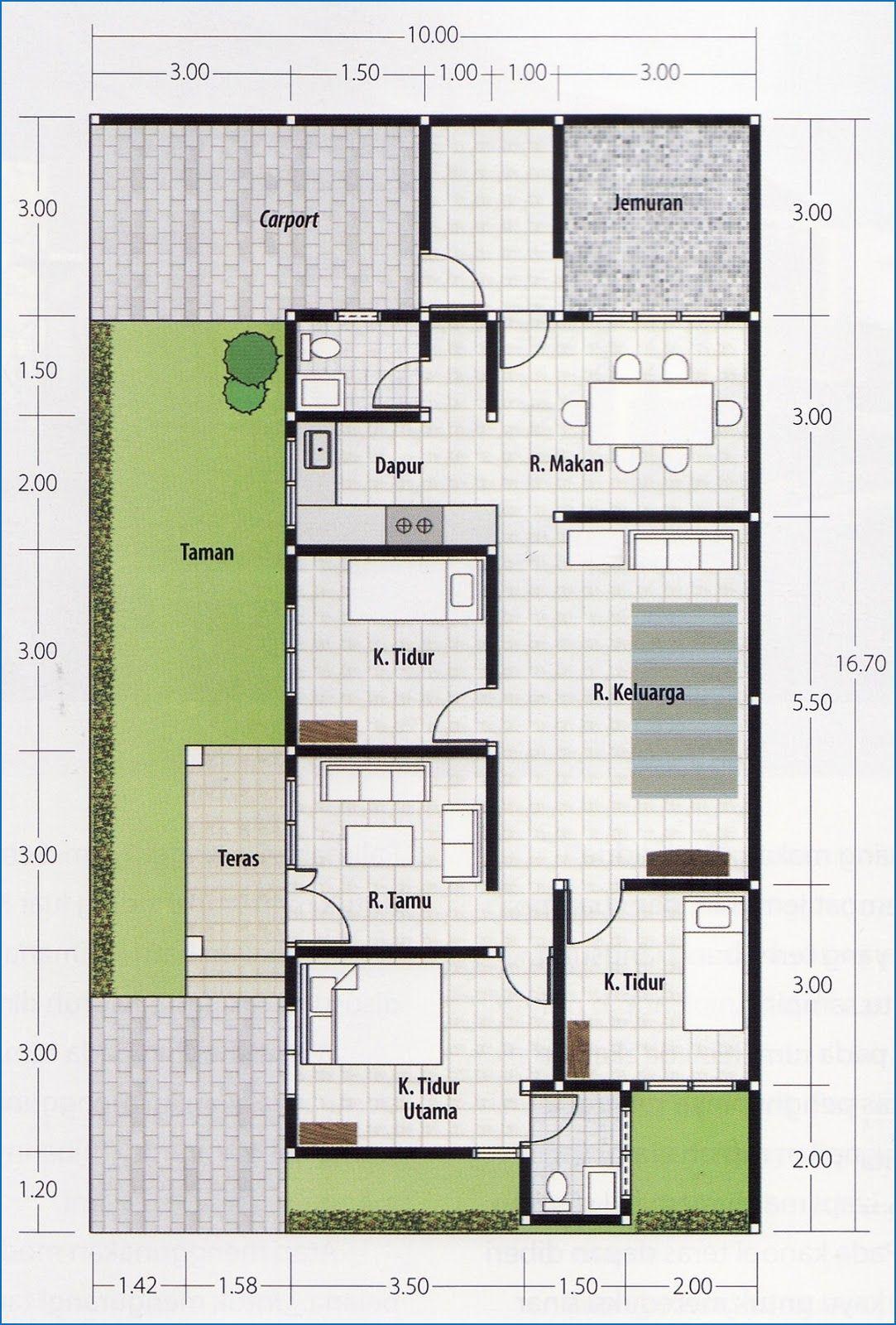 rumah 3 kamar 1 lantai