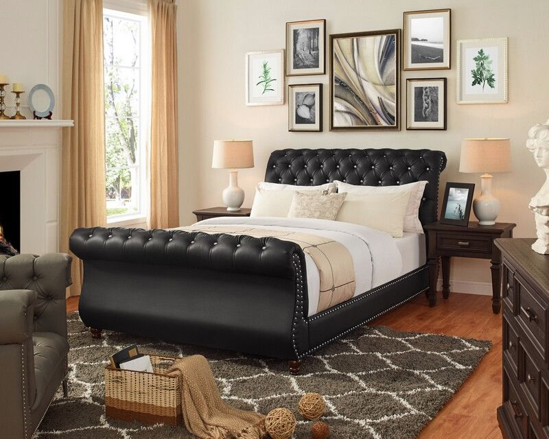 Oah D3022 Sterling Black Faux Leather Queen Sleigh Bed Frame Set