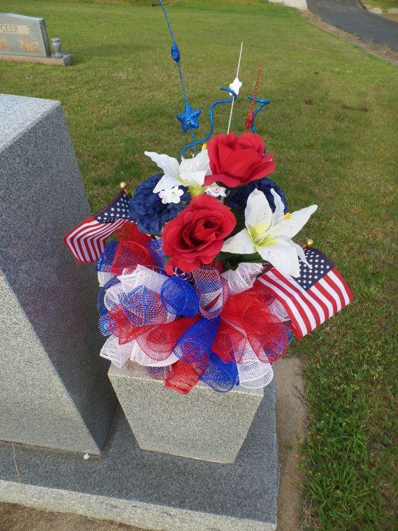 Patriotic Deco Mesh 8 Inch Memorial Vase Insert For The Home Grave Flowers Memorial Day