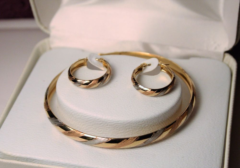 JCP 10K Tri Gold White Rose Yellow JC Penney Bangle Bracelet   Hoop     JCP 10K Tri Gold White Rose Yellow JC Penney Bangle Bracelet   Hoop Earrings  SET