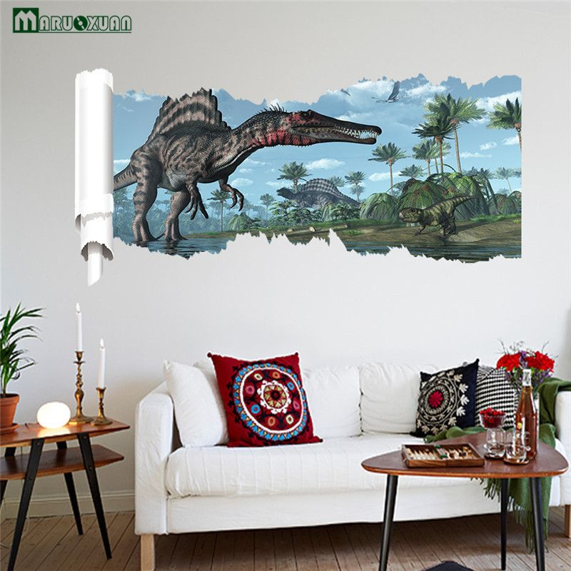 dinosaur foraging stickers kids room bedroom living backdrop decorative pvc waterproof wall also rh za pinterest