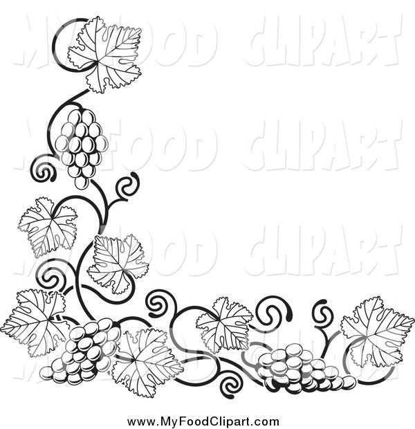 Food Clip Art of a Black and White Grape Vine Corner ...
