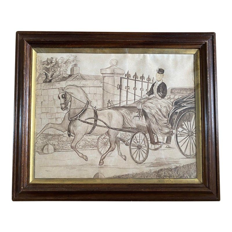 Antique Victorian sepia painting in either ink or watercolor with a very unusual real photo face or so it would appear. In period walnut and gilt frame.