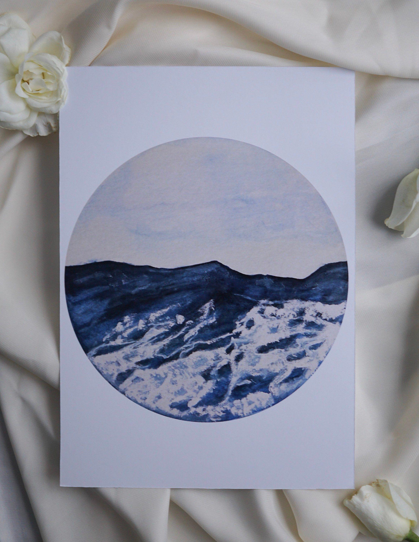 Das Unruhige Meer Print Aquarell Bild Meer Ocean Aquarell