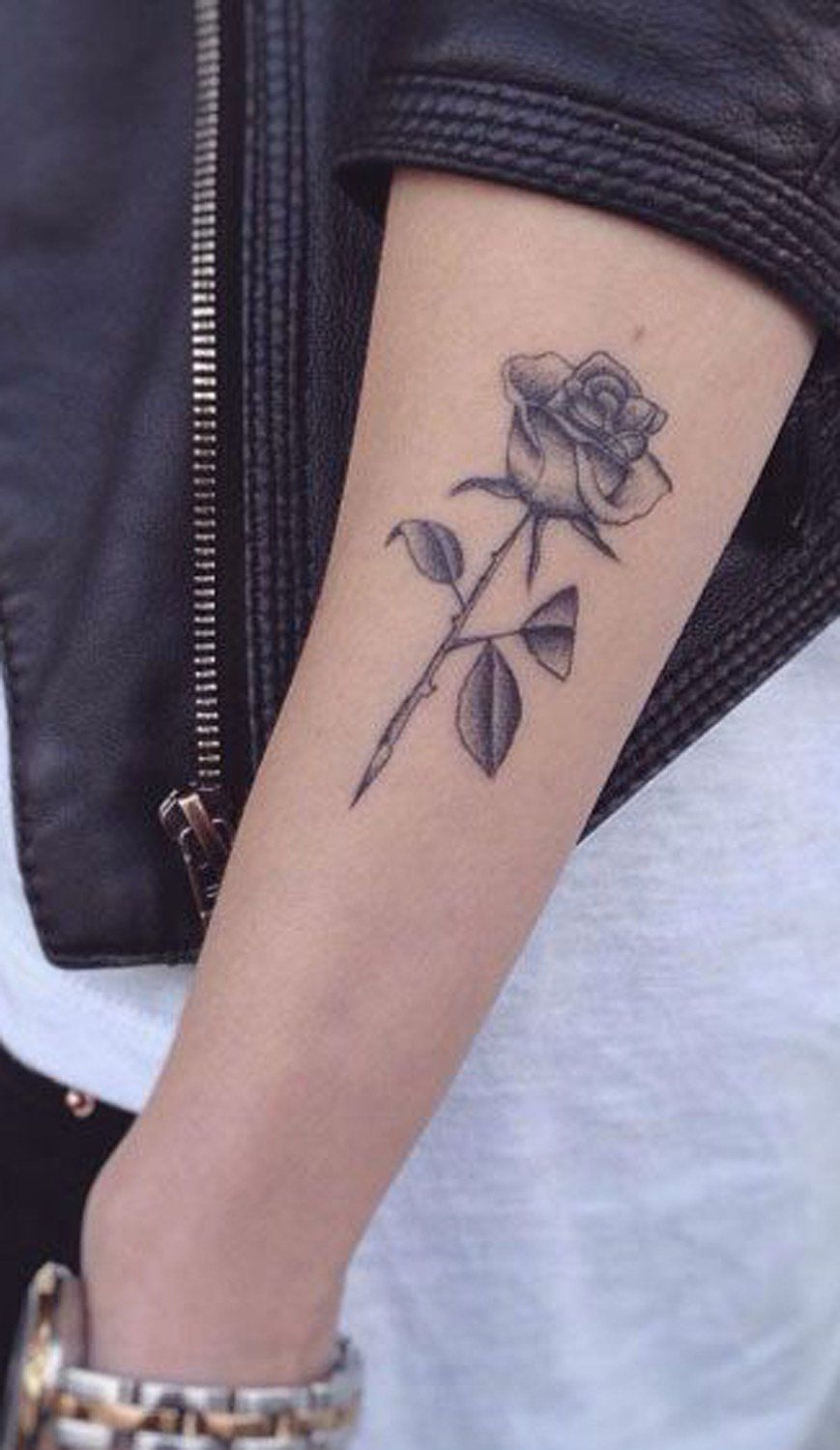 Small Flower Rose Tattoo Ideas Forearm