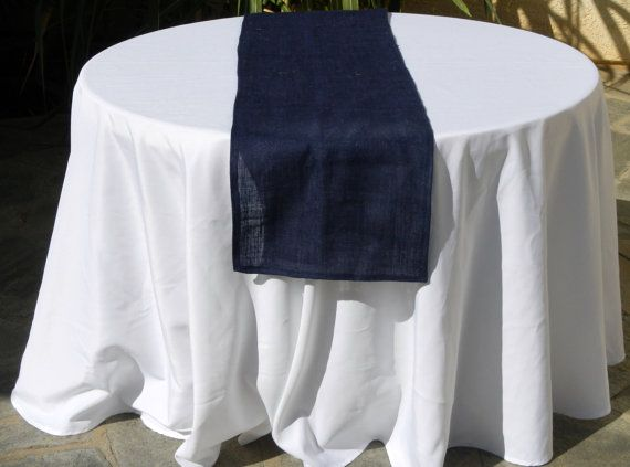 Burlap Table Runner Navy Blue Ready To By Lolarosedesigns 22 00