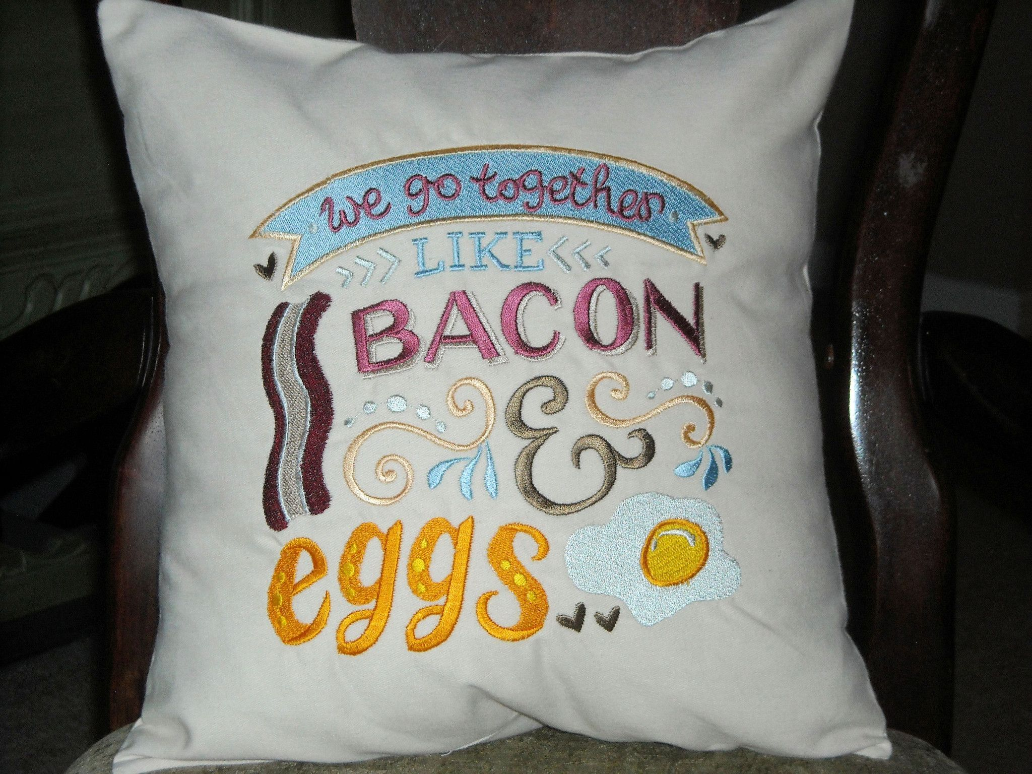 Pillow Cover, We Go Together Like Bacon and Eggs,100% Cotton Pillow Envelope Cover