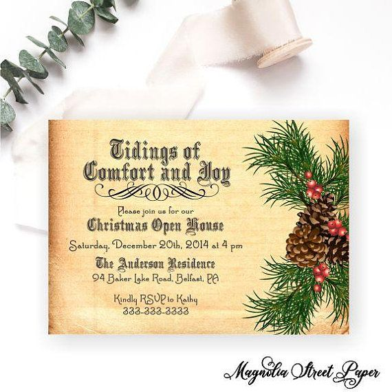 Vintage Pine Christmas Party Invitation in 2018 Magnolia Street