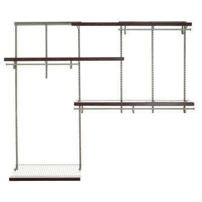 ShelfTrack 5 Ft.   8 Ft. Nickel Wire Closet Organizer Kit With Wood Trim