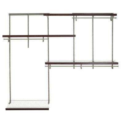 ShelfTrack 5 Ft.   8 Ft. Nickel Wire Closet Organizer Kit With Wood Trim