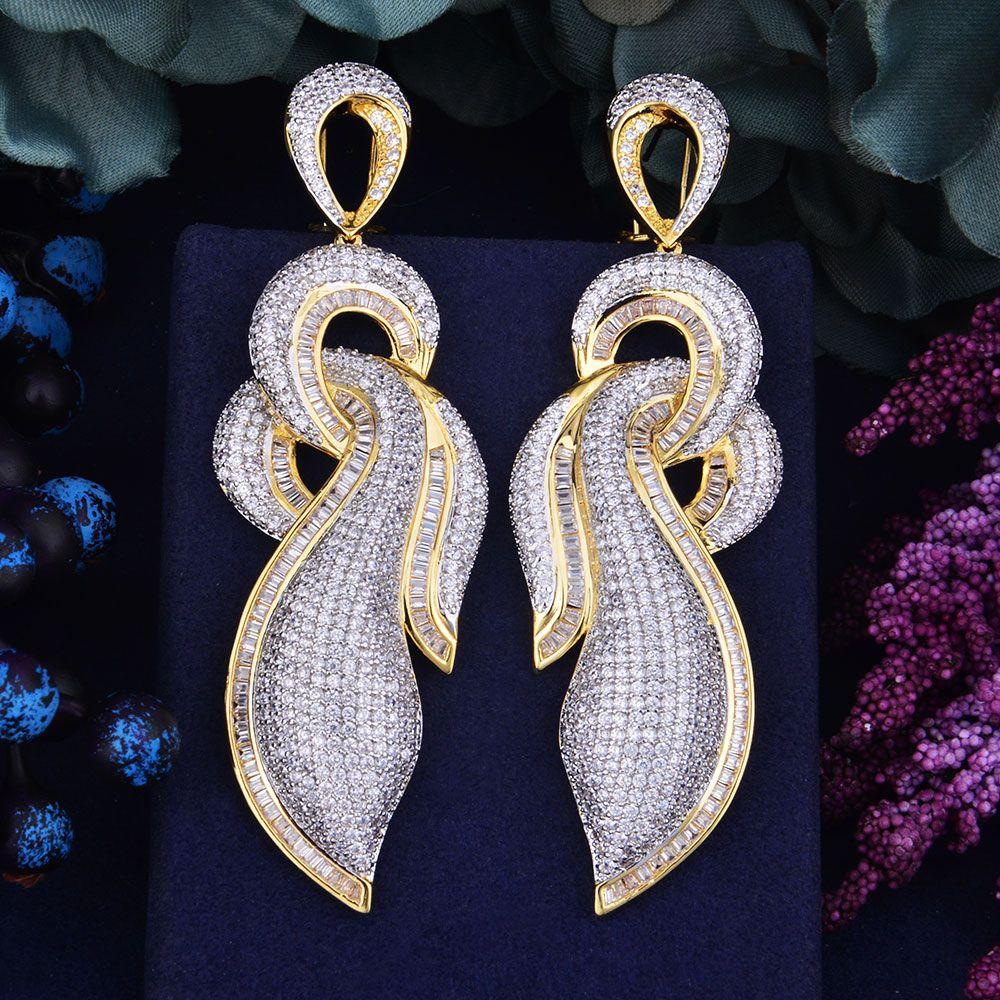 Elegant Cubic Zirconia Bowknot Long Drop Dangle Earring Wedding Fashion Jewelry