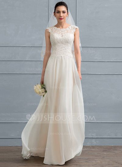 A-Line/Princess Scoop Neck Floor-Length Chiffon Lace Wedding Dress ...