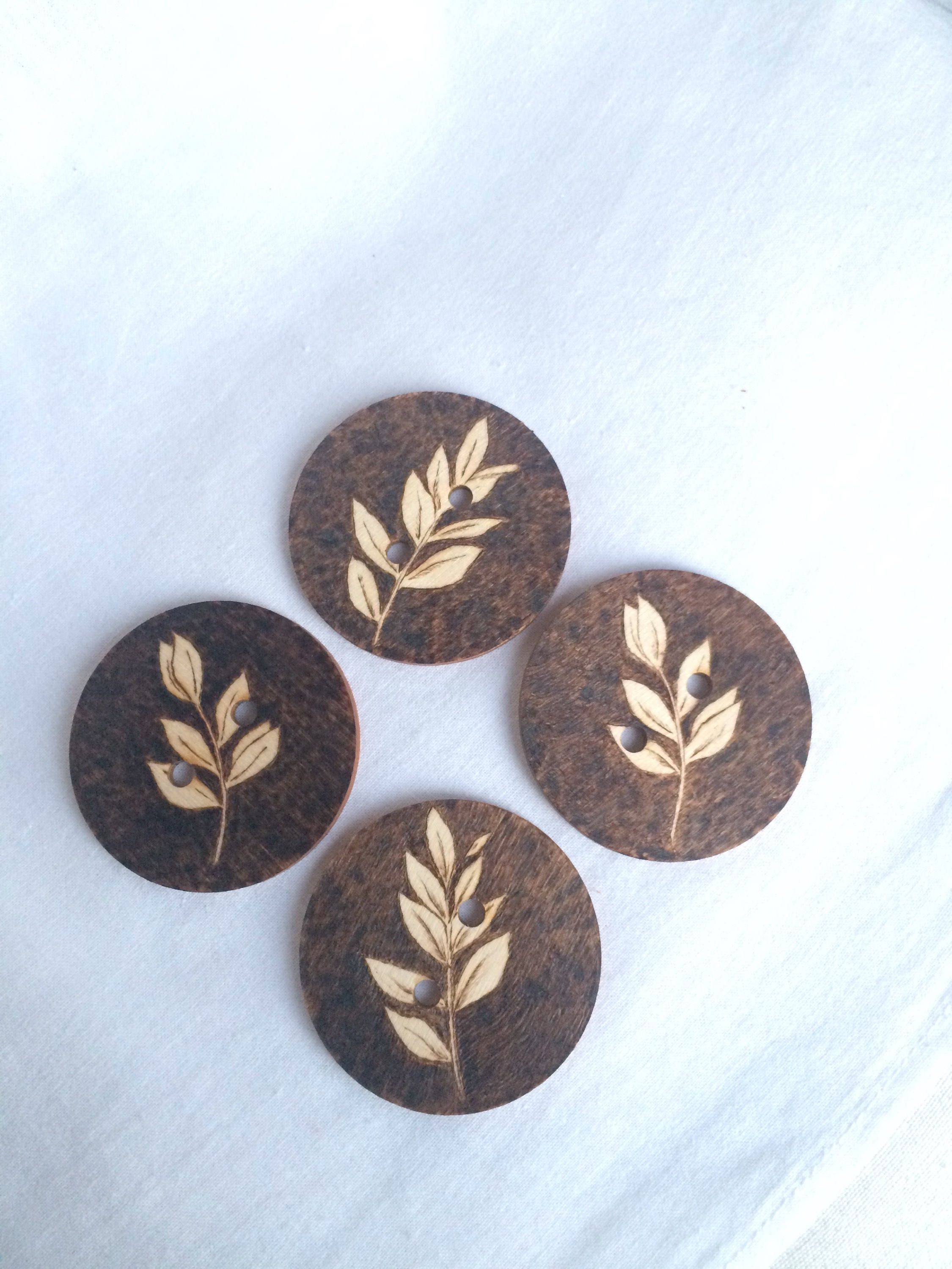 Buttons Wooden Buttons Set Of 4 Leaf Design Handmade Pyrography Wooden Button Leaf Design Pyrography