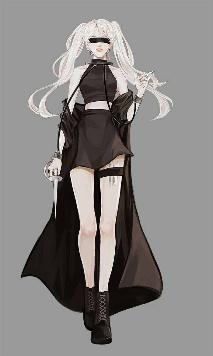 Assassin anime girl with white hair