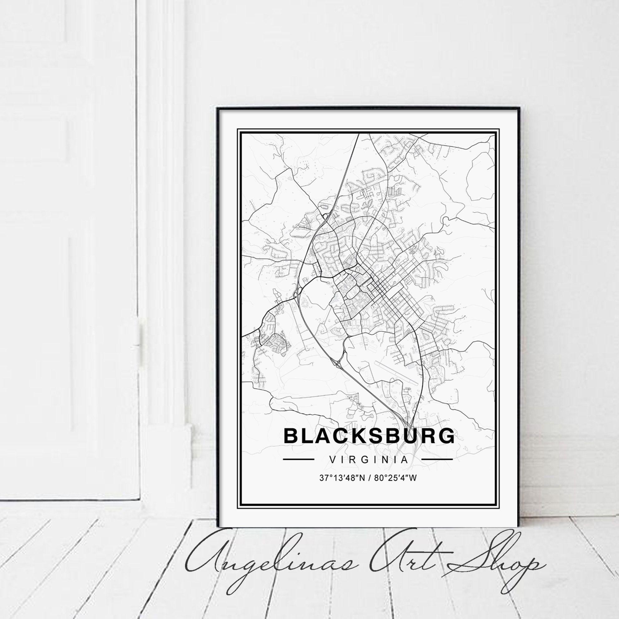 Blacksburg Poster Blacksburg Map Poster Blacksburg Virginia Map Blacksburg Map Print Blacksburg City Map Blacksburg Map