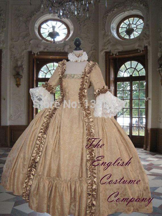 18th century Georgian Marie Antoinette Colonial Dress with full ...