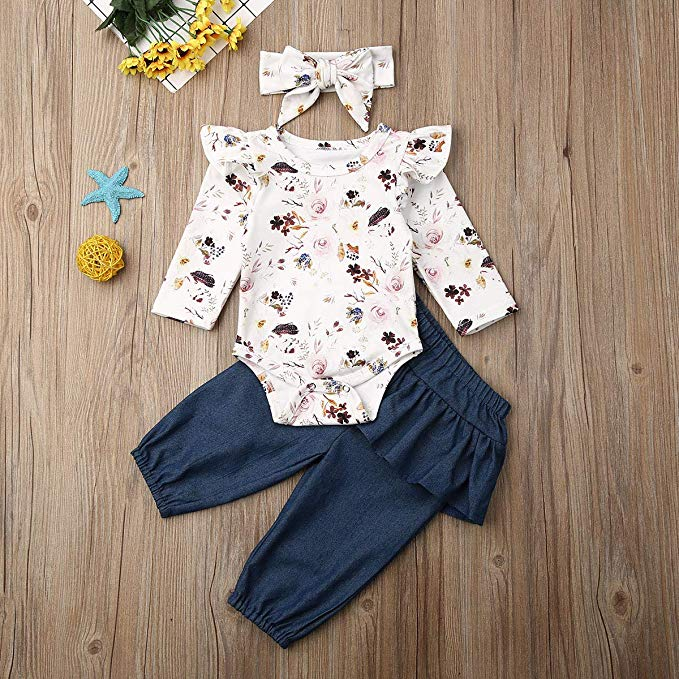 UK Toddler Baby Girls Winter Clothes Lace Ruffle Romper Long Pants Outfits 3PCS