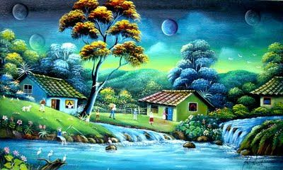 Gabriel Nieto The Colombian Landscape Scenery Paintings Pastel Landscape Waterfall Paintings