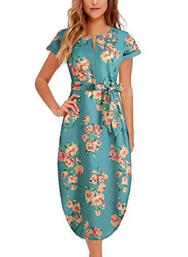 Women s Midi Dresses Side Slit Floral Print Loose Casual Long Dress with Belt  BK318 at Amazon Women s Clothing store  78a568f18