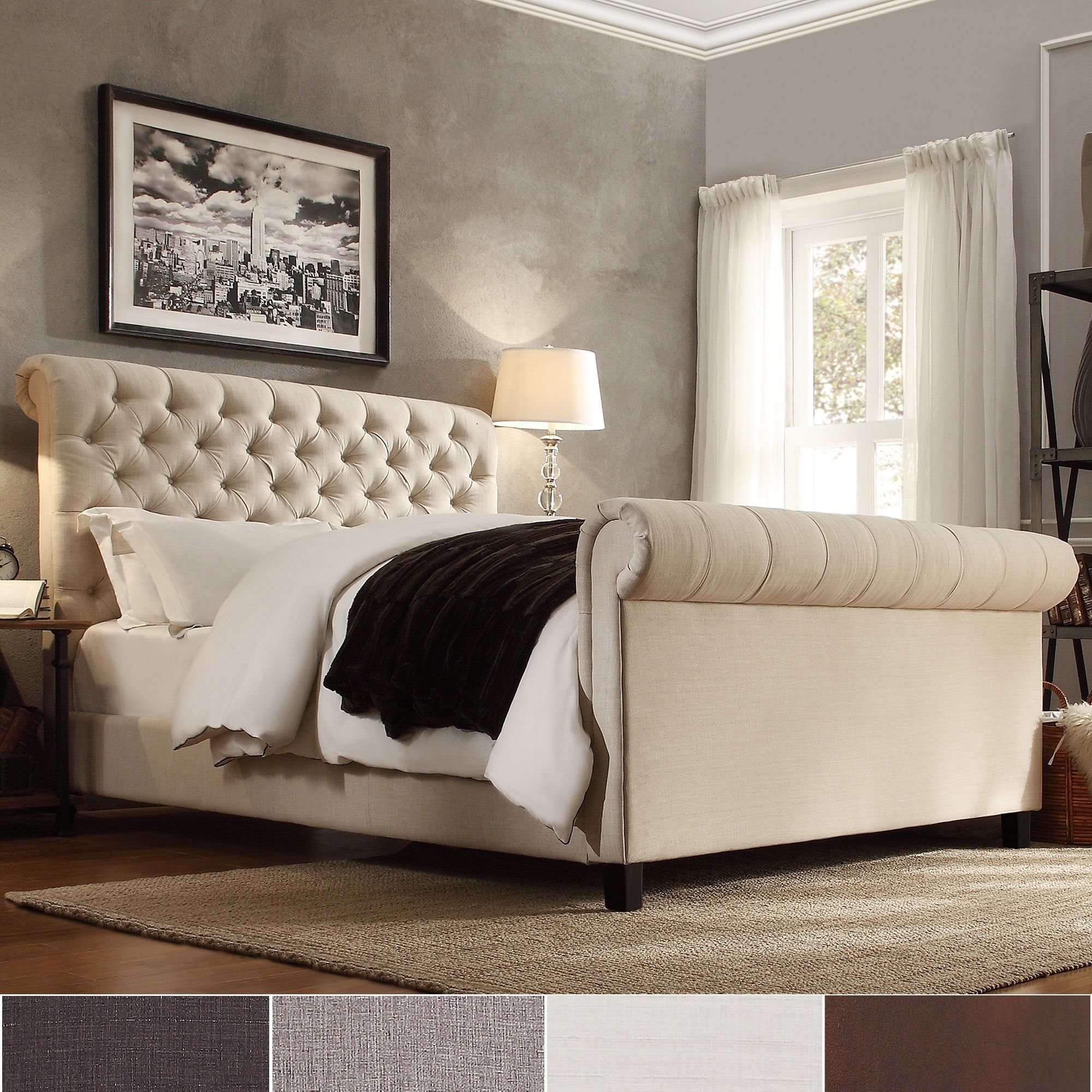 Knightsbridge Beige Linen Rolled Top Tufted Chesterfield Bed With