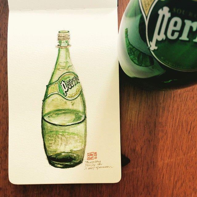 No. 7 Perrier aqua #sketch #Perrier #watercolour #painting #bottle #drink #moleskine