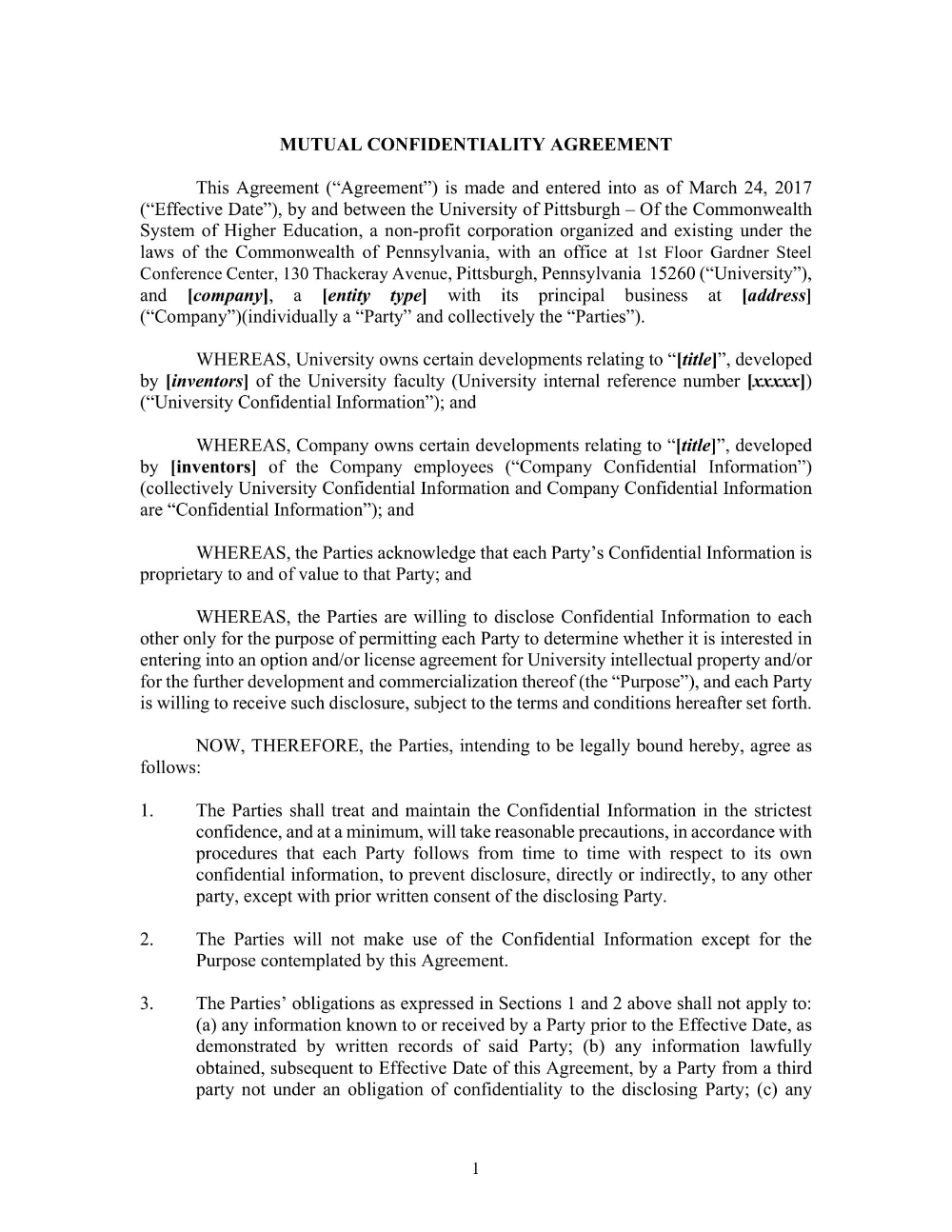 Mutual Confidentiality Agreement Pdf Doc Examples Intended For
