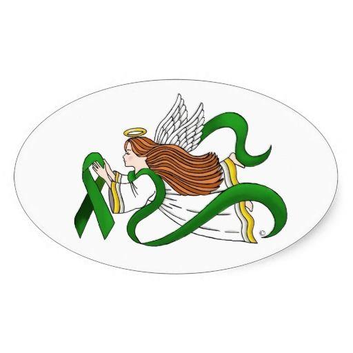 """Green Ribbon"" Awareness Angel Sticker"