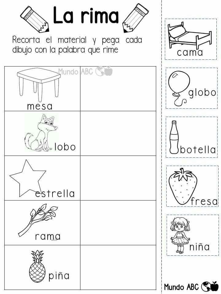 La rima | GRAFOMOTRICIDAD | Pinterest | Preescolar, Lenguaje y Español