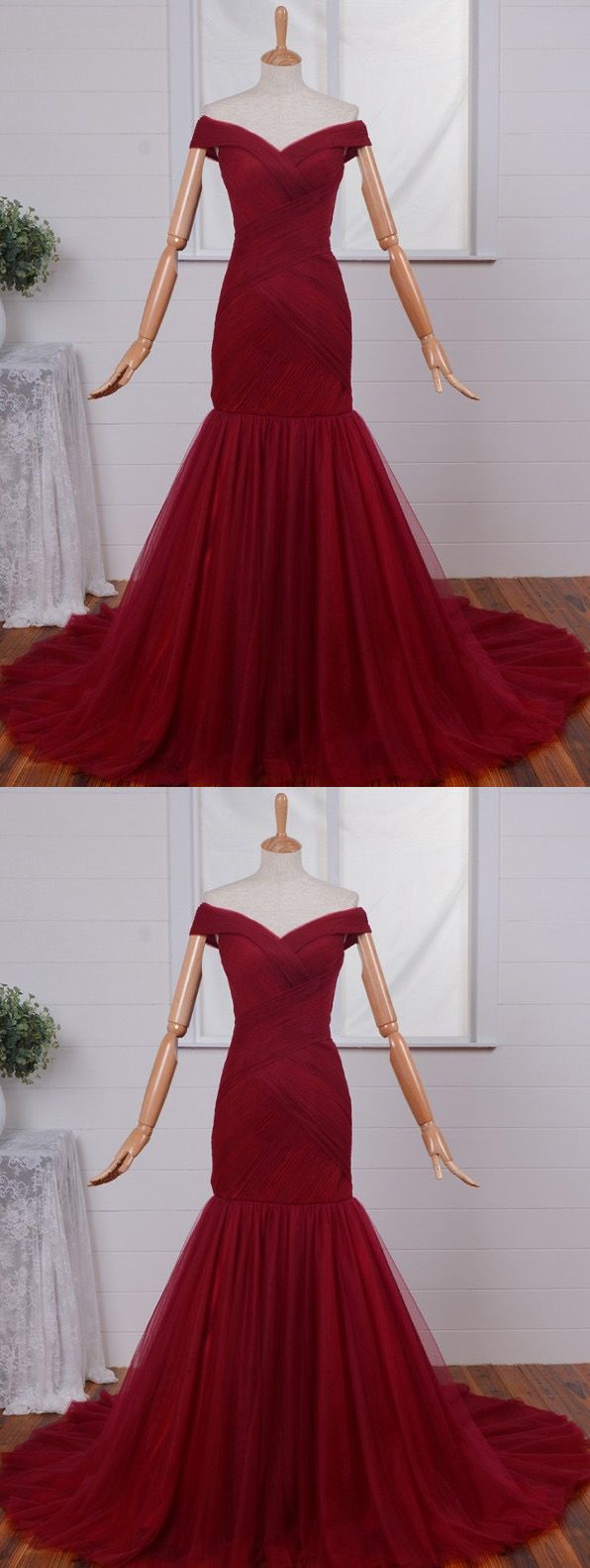 Off shoulder red prom dresses mermaid prom dresses tulle prom