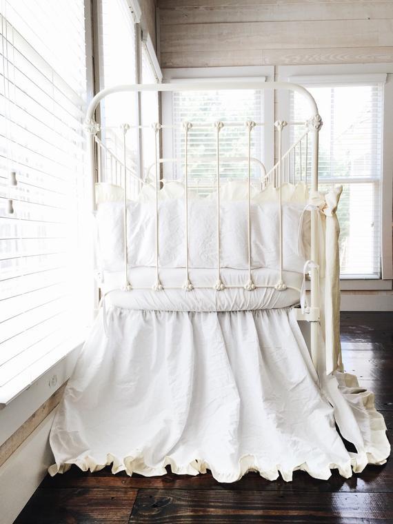 White And Ivory Ruffled Neutral Baby Bedding Set, Elegant