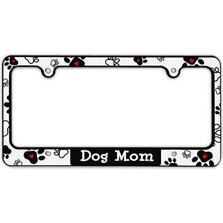 Pitbull Mom I Love My Rescue Dog Black Plastic License Plate Frame